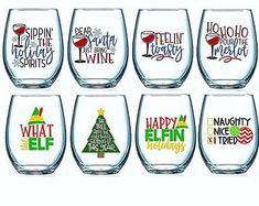 Set of 4 Christmas Wine Glasses Christmas Wine Glasses Christmas Glasses, Christmas Drinks, Diy Christmas Gifts, Christmas Humor, Funny Christmas Sayings, Etsy Christmas, Christmas Tumblers, Cricut Projects Christmas, Christmas Slogans