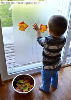 Tree Contact Paper Play Autumn Tree Contact Paper Play - what a simple idea! This would look beautiful on a window.Autumn Tree Contact Paper Play - what a simple idea! This would look beautiful on a window. Toddler Learning Activities, Games For Toddlers, Autumn Activities, Infant Activities, Preschool Activities, Nursery Activities, Indoor Activities, Learning Games, Kids Learning
