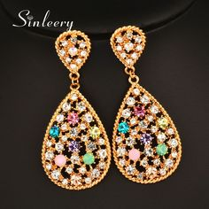 Gorgeous Multicolor Crystal Water Drop Shape Hollow Big Earrings For Women Es791