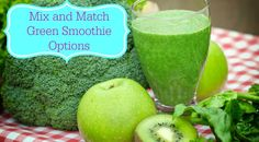 Skinny Green Smoothie options. So many mix and match options -it's fantastic! #greensmoothie #smoothierecipe #smoothies #healthy