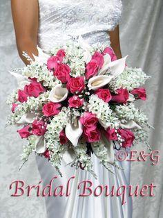ANNA BELLE FUSCHIA wedding bouquets handtied silk flowers bridesmaid bouquets boutonniere corsage groom Bridal Bouquet. $415.00, via Etsy.