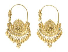 Pair of gold Kurdish earrings from Iranian Kurdistan.  Late 19th or early 20th century.