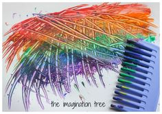 Rainbow Comb Paintings - The Imagination Tree : rainbow comb painting Rainbow Activities, Rainbow Crafts, Toddler Activities, Activities For Kids, Preschool Ideas, Painting For Kids, Art For Kids, Toddler Crafts, Crafts For Kids