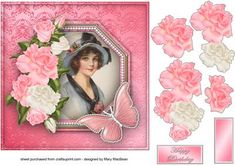 Pink Roses and Pearls on Craftsuprint designed by Mary MacBean - Framed vintage…