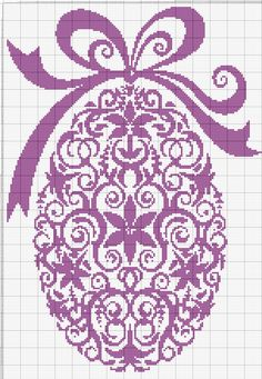 An Easter Egg with a Bow. Cross stitch chart. #cross_stitch