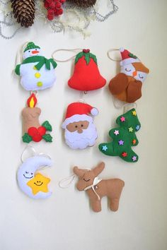 Set of 8 Christmas ornaments Felt Christmas ornaments