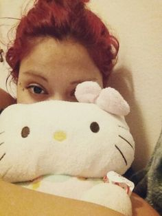 She sleeps with her Valentine's present. ♥ #hellokitty #iloveyou #marryme