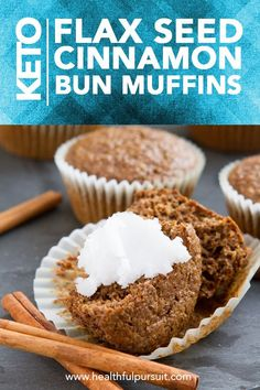 Flourless grain-free sugar-free low carb keto muffins made with just flaxseed. Flourless grain-free sugar-free low carb keto muffins made with just flaxseed. Keto Friendly Desserts, Low Carb Desserts, Low Carb Recipes, Diet Desserts, Peanut Recipes, Flour Recipes, Wing Recipes, Free Recipes, Keto Foods