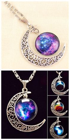 Galaxy Star Moon Time Gem Necklace, Get it in our Black Friday Deal now! We have hundreds of limited-time Lightning Deals for you to choose from, exciting Deals of the Day, and savings on your wallet. Cute Jewelry, Diy Jewelry, Jewelry Box, Jewelery, Jewelry Accessories, Jewelry Making, Long Pendant Necklace, Moon Necklace, Lightning Deals