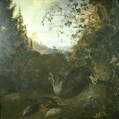 Matthias Withoos (circa 1627–1703)  Otter in a Landscape Date1640-1700 oil on canvas
