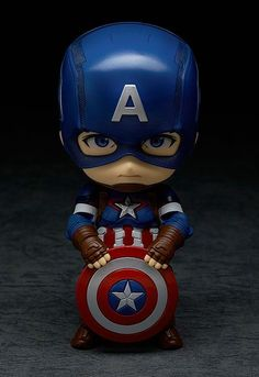 The next of the Avengers to join the Nendoroids - Captain America! From 'Avengers: Age of Ultron' comes a figure of the leader of the Avengers, Captain America! The fully articulated Nendoroid has been carefully sculpted and painted with his u. Batman Wallpaper, Avengers Wallpaper, Chibi Marvel, Marvel Art, Marvel Heroes, Avengers Cast, Marvel Avengers, Avengers Series, Anniversaire Captain America