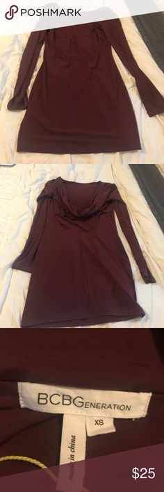 Drape Back Burgundy Dress Fitted long sleeve dress in Excellent conduction. No flaws only worn once BCBGeneration Dresses Mini