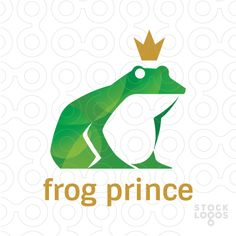 The logo mark features a sitting crowned green frog.