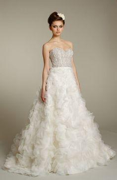 Bridal Gowns: Lazaro A-Line Wedding Dress with Sweetheart Neckline and Natural Waist Waistline