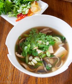 This Tofu Noodle Soup is a quick vegetarian weeknight meal. Plus, the kids always say the long rice noodles in soup is a cool thing.