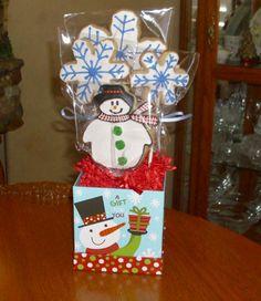 Snowman Christmas Gift Arrangement...Hand Decorated Butter Cookies