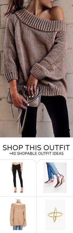 #winter #fashion /  Off Shoulder Knit + Black Pants + Metallic Shoulder Bag