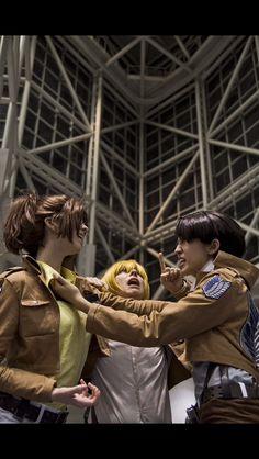Attack on Titan Cosplay; Hanji,Armin,Levi