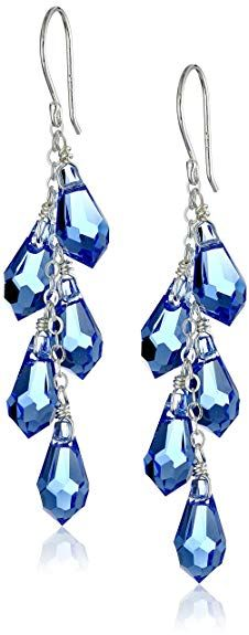 5b6efec52 Sterling Silver Swarovski Elements Sapphire Color Faceted Multi-Teardrop  Earrings Jewelry Rings, Silver Jewelry