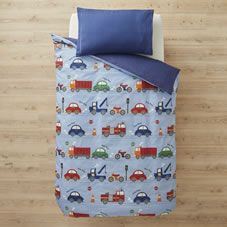 This fun cars and trucks design duvet set would made a fab addition to the kids' bedroom. It's made from a soft to touch polycotton that guarantees you comfort with the easy care properties of polyester.<br><br> Material: 52% polyester, 48% cotton.  £10