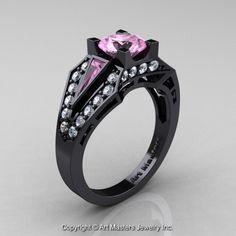 Edwardian 14K Black Gold 1.0 Ct Light Pink Sapphire Diamond Engagement Ring R285-14KBGDLPS