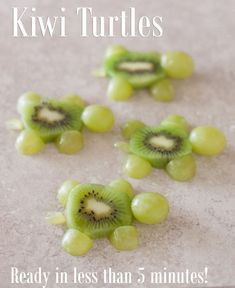 These cute kiwi turtles are an easy kid snack ready in just five minutes… Easy Snacks For Kids, Food Art For Kids, Cute Snacks, Toddler Snacks, Cute Food, Kids Meals, Kid Snacks, Kid Lunches, Lunch Snacks