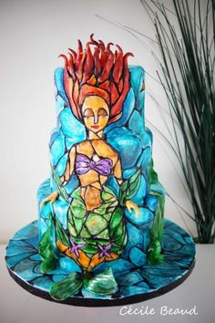 amazing Beautiful Stained Glass Little Mermaid Cake