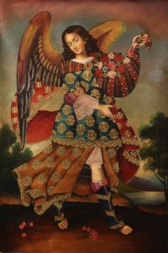 Angel St Barachiel~HUGE Santos Old Cuzco Art Original Oil Painting