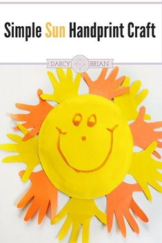Looking for fun and easy preschool crafts to do at home? Make a handprint sun craft with your kids using minimal materials. Great for toddlers too! #artsandcraftsfortoddlers,