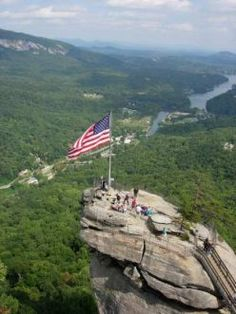 An aerial view of Chimney Rock State Park