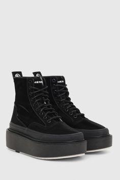 Diesel, All Black Sneakers, High Top Sneakers, Flatform Sneakers, High Tops, Abs, Shoes, Fashion, Woman