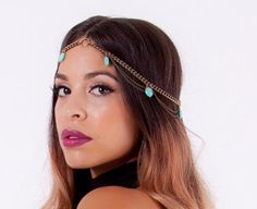 Valerie. Beautiful Golden arrowhead, double chain turquoise head piece. $45.00, via Etsy.