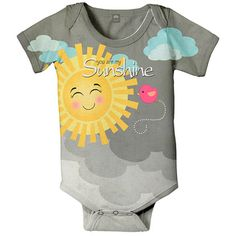 @Overstock - Nikki's Gift Baskets Custom Girl Creeper Bodysuit with Sunshine Design - This custom designed baby creeper has a sunshine design that reads 'you are my sunshine' on it.  The bodysuit is constructed of fabric that is slightly thinner and silkier than traditional cotton and is super soft and safe on baby's skin.    http://www.overstock.com/Baby/Nikkis-Gift-Baskets-Custom-Girl-Creeper-Bodysuit-with-Sunshine-Design/7945532/product.html?CID=214117  $27.79