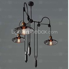 Buy Vintage Pully Pendant Lights 3 Light Island Light Foyer pendants Dinning Pendants Study Room Metal+ Galss Inside Shade with Lowest Price and Top Service! Wood Pendant Light, Industrial Pendant Lights, Led Pendant Lights, Pendant Lighting, Pendant Lamps, Metal Chandelier, Vintage Chandelier, Modern Chandelier, Spider Lamp