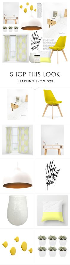 """""""Bedroom - Yellow Gray White"""" by by-jwp ❤ liked on Polyvore featuring Anja, Threshold, Muuto, Abigail Ahern, Craft + Foster and bedroom"""