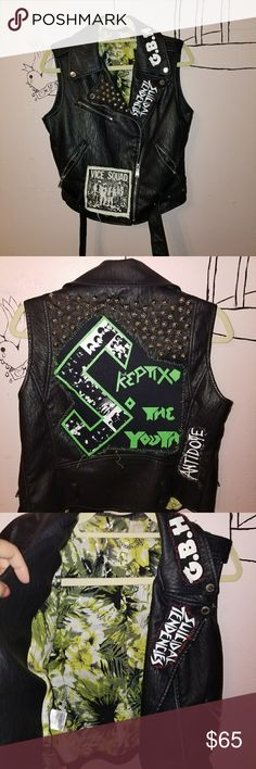 PUNK BCBG LEATHER VEST I did all the patches and studs my self. Bought the leather jacket at Nordstrom. Has plenty of room to add your own patches. If you'd even like you can send them and I will stich  them up for You! And how badass is the Inside as well.   Punk. Gbh.  Vice Squad. Suicidal Tendencies.  The Skeptix. Antidote. BCBGeneration Jackets & Coats Vests