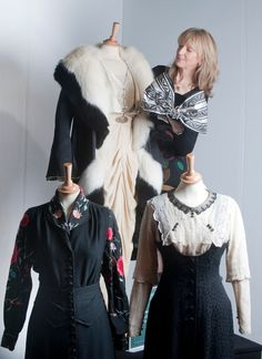 Jane Bolsover with Mabel Normand's costume at the top, left is Agnes Towler and Kitty Hawkins character's costume on the right.