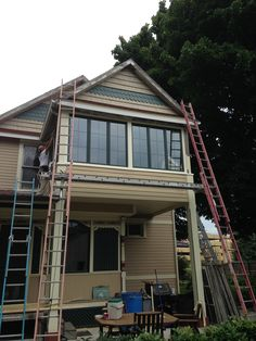 New windows installed as part of the Sleeping porch renovation.