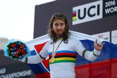 Peter Sagan (Slovakia) puts on a clean rainbow jersey as the 2016 world champion