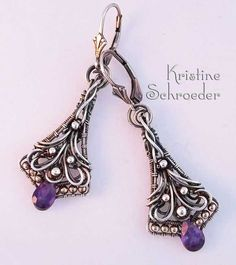 Charissa Earrings in Sterling Silver and Amethyst $200.00 | Kristine Schroeder Studio