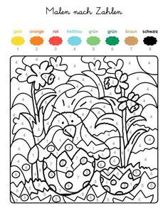 Ausmalbild Malen nach Zahlen: Osterküken ausmalen kostenlos ausdrucken