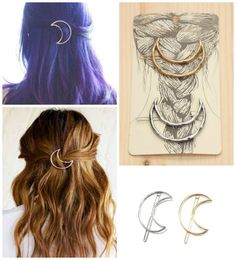 :o:o:o -- Half Moon Celestial Boho Hair Pins Barrettes - GoGetGlam Boho Hairstyles, Pretty Hairstyles, Everyday Hairstyles, Hairstyles 2016, Popular Hairstyles, Hair Dos, Your Hair, Maquillaje Diy, Undone Look