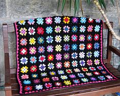 Retro Granny Square Blanket Crochet Afghan Betty