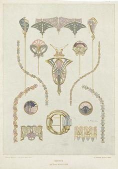 René Beauclair & Maurice Daurat, art nouveau tableware & jewelry, 1910. From Album de la Décoration. Paris. Via NYPL