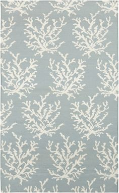 Light Blue and Ivory Coral Branch Rug. Save 15% during this summer sale at Caron's Beach House.