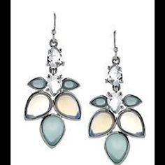 Jessica Simpson drop earrings New without tags. Never worn. Blue-green stone color. Silver Jessica Simpson Jewelry Earrings