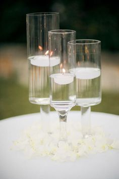 Simple candle decor for outdoor cocktails pre-wedding dinner.