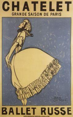 Affiche de Jean Cocteau pour les Ballets Russes représentant la danseuse Tamara Karsavina dans Giselle. 1911.