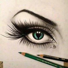 Green eyes.