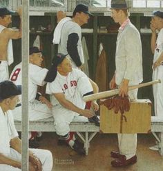 """Last chance to view """"The Rookie"""" before next month's auction? Norman Rockwell's classic Red Sox-inspired painting will be on view at Boston's MFA from April 29-May 4. The original tear sheet is part of our Saturday Evening Post covers exhibit (all 323 of them!)."""